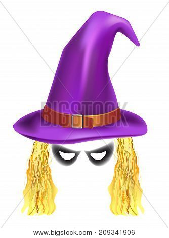 Video chat photo mask of witch in hat for face effect template icon for selfie filter. Vector flat isolated Halloween witch eyes and hair for smartphone camera application