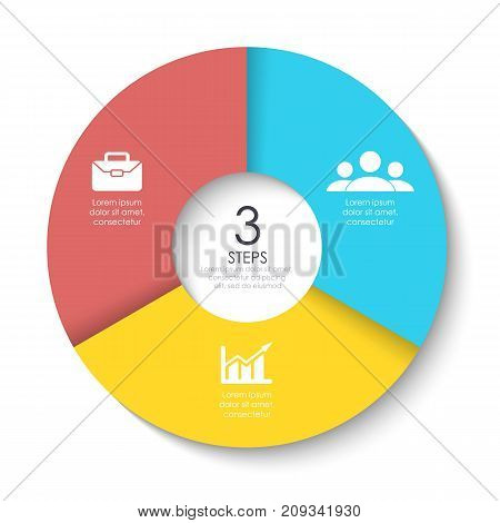 Set of round infographic diagram. Circles of 3 elements or steps. Vector EPS10