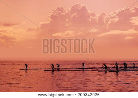 Stand up paddle boarding competition on open sea silhouettes of people competing in water sport