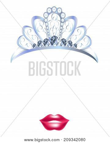 Video chat photo mask of princess crown and lips for face effect template icon for selfie filter. Vector flat isolated queen crown and lip kiss for smartphone camera application
