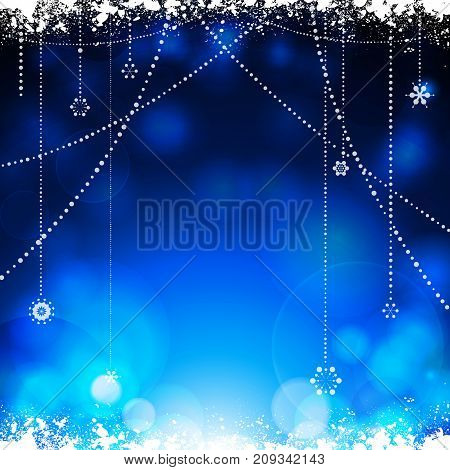 Festive Glowing Blue Christmas Background with Snow and Hanging Stars Decorations