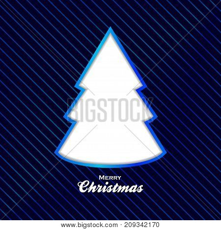 Blue Christmas Background with Stripes Decorative Text and Cut Out Tree