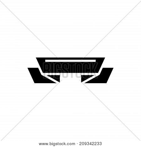 ribbon 2 corners icon, illustration, vector sign on isolated background