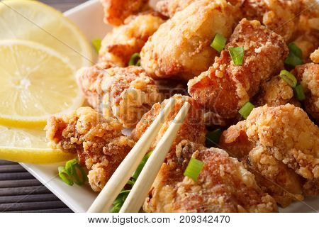 Japanese Food: Fried Chicken Karaage With Lemon And Green Onion Macro On A Plate. Horizontal