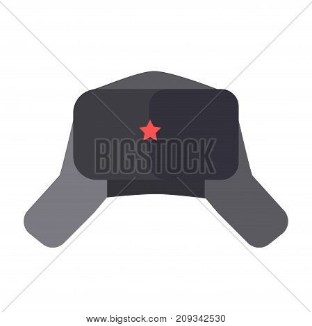 Furry soft hat with ear flaps and small red five-pointed star on front part isolated cartoon flat vector illustration on white background. Traditional national old-fashioned warm winter headdress.
