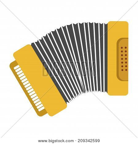 Bright yellow accordian with keys board and buttons panel on both sides isolated cartoon flat vector illustration on white background. Traditional ethnic Russian key-pneumatic musical instrument.