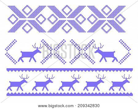 Traditional Christmas ornament with deers and geometrical shapes for warm winter clothes isolated cartoon flat vector illustration on white background. Festive decoration for textile products.