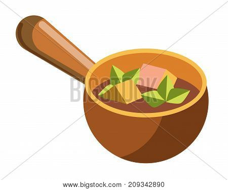 Soup with fresh greenery and cubes of cheese and meat in clay bowl with long handle isolated cartoon flat vector illustration on white background. Nutritious liquid dish in unusual dishware.
