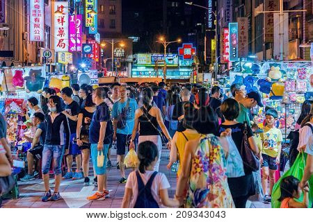 TAIPEI TAIWAN - JULY 14: This is Ningxia night market a famous night market which has many local street food vendors and is situated in the downtown area of Zhongshan on July 14 2017 in Taipei