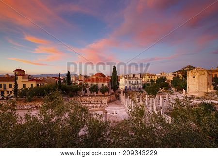 Remains of Roman Agora in the old town of Athens, Greece.