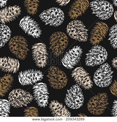 Pine cone seamless pattern. Hand drawn vector illustration. Engraved coniferous winter cones. Christmas Xmas New Year. Flyer banner gift wrapping textile holiday festive decor greeting card.