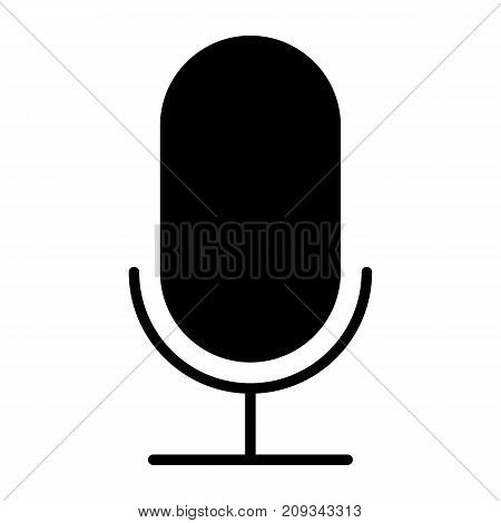 Old microphone silhouette icon. 96x96 for Web Graphics and Apps.  Simple Minimal Pictogram. Vector