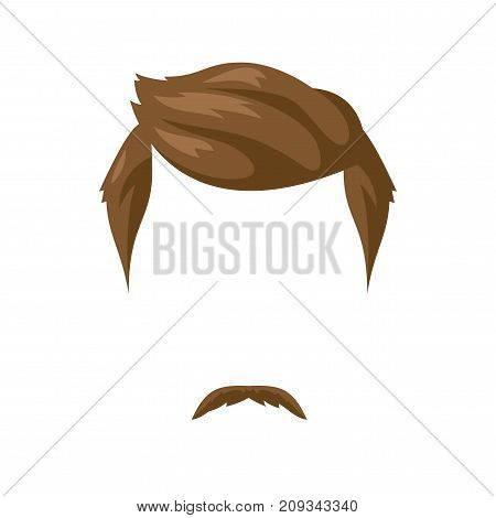 Beard, mustache and hairstyle. Male style haircut. Vector Illustration isolated on white.