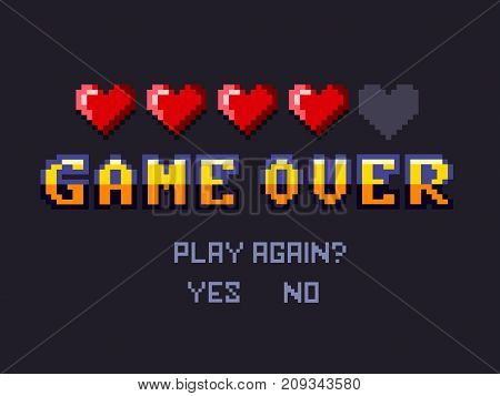 game over Pixel art design. Pixel art for game design.