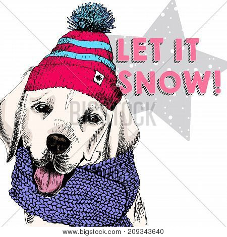 Close up vector portrait of Labrador retriever dog wearing beanie and scarf. Ski mode mood. Skecthed colored illustraion. Christmas Xmas New year. Party decoration promotion greeting card.