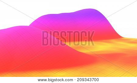 Colorful surface dimentional landscape graph of mathematical function 3d render