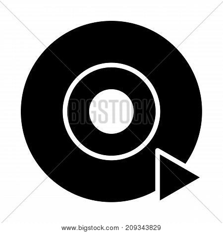 Disc CD DVD silhouette icon and play sign. 96x96 for Web Graphics and Apps.  Simple Minimal Pictogram. Vector
