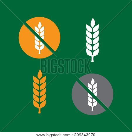 Free Gluten Celiac. Wheat Yellow Gluten Free Grain Icon Vector