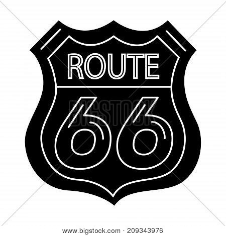 route sign 66- shield icon, illustration, vector sign on isolated background