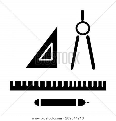 rulers dividers pen icon, illustration, vector sign on isolated background