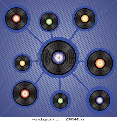 colorful illustration with vinyl records isolated on blue background