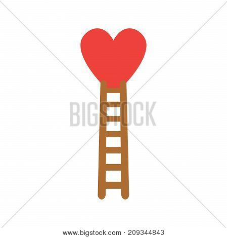 Flat Design Style Vector Concept Of Climb To Heart With Wooden Ladder Icon On White