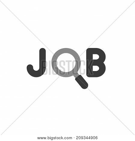 Flat Design Style Vector Concept Of Job Text With Magnifying Glass Or Magnifier Icon On White
