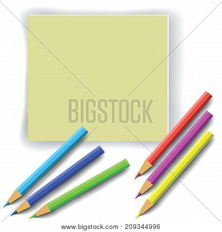 colorful illustration with colorful pencils and paper on white background