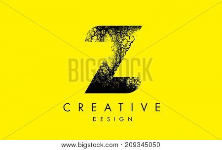 Z Logo Letter Made From Black Tree Branches