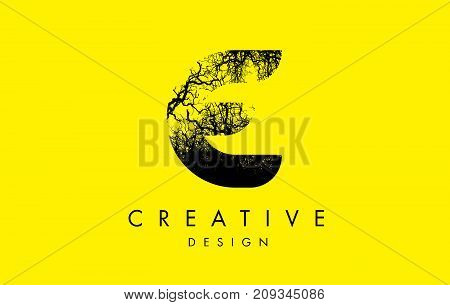 E Logo Letter Made From Black Tree Branches