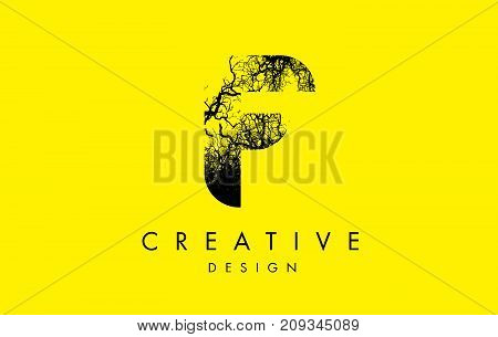 F Logo Letter Made From Black Tree Branches