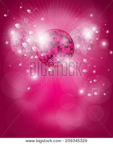 Pink poster for disco party with disco ball