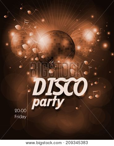 Bronze poster for disco party with disco ball