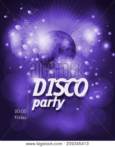 Blue poster for disco party with disco ball