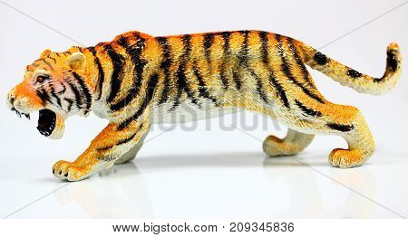 Male toy tiger on a white background
