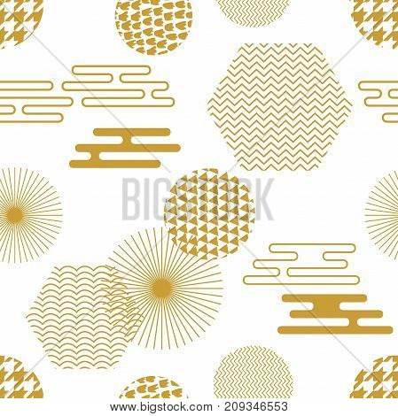 Seamless vector pattern with Japanese, Chinese and Korean motifs. Abstract background with circles, hexagons. Composition for textile design, cards.