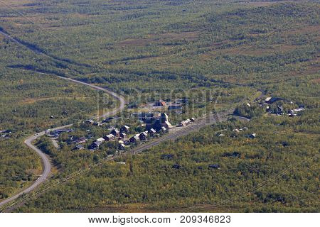 View of the village Abisko, Sweden from the downhill slope in September. Infrastructure and buildings, 2009.