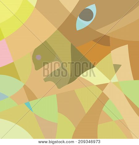 colorful illustration with abstract horse mosaic pattern for your design