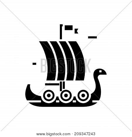 ship wooden viking icon, illustration, vector sign on isolated background