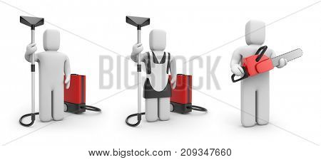 Workers with a vacuum cleaner and worker with chainsaw. 3d illustration