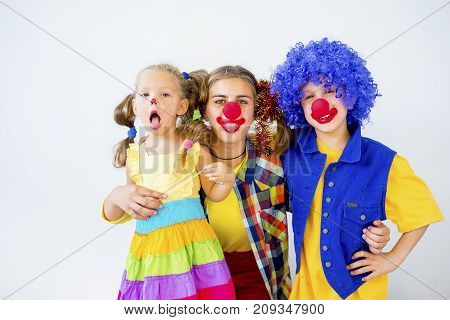 A portrait of a clown in a kid party