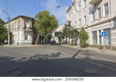 Evpatoria, Republic of Crimea - July 19, 2017: Crossroads of Karaev and Revolution streets in Evpatoria, Crimea