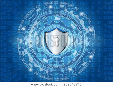 Cyber Security Data Protection Business Technology Privacy concept cricle key lock and digital technology background abstract technology concept background vector illustration.