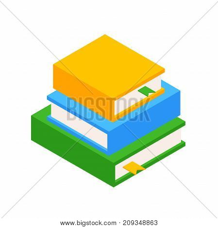 Pile of three Books. Education Infographic Concept  with Books Stack. Books stacked on top of each other. Vector illustration of isolated layers on a white background