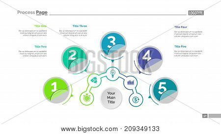 Five circles process chart slide template. Business data. Step, point, design. Creative concept for infographic, presentation, report. Can be used for topics like marketing, finance, production.