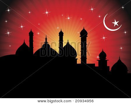 abstract red rays background with mosque silhouette