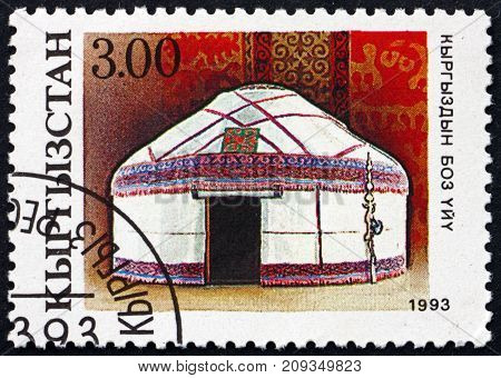 KYRGYZSTAN - CIRCA 1993: a stamp printed in the Kyrgyzstan shows Kirghisian Yurt National Heritage circa 1993