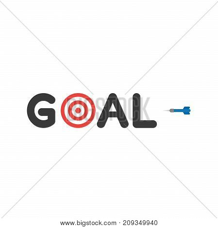 Flat Design Style Vector Concept Of Goal Text With Bulls Eye And Dart Icon On White