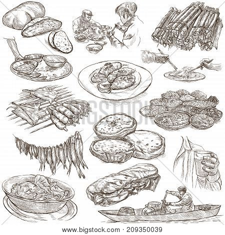 FOOD menu.International Cuisine set. Cooking and Dish. Collection of an hand drawing illustrations. Pack of full sized hand drawn freehand sketches. Line art technique. Drawing on white background.