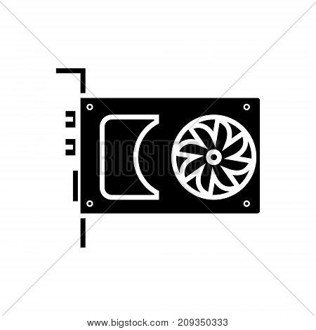 sound card - video card icon, illustration, vector sign on isolated background